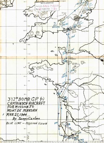 27 Mar 44 route map