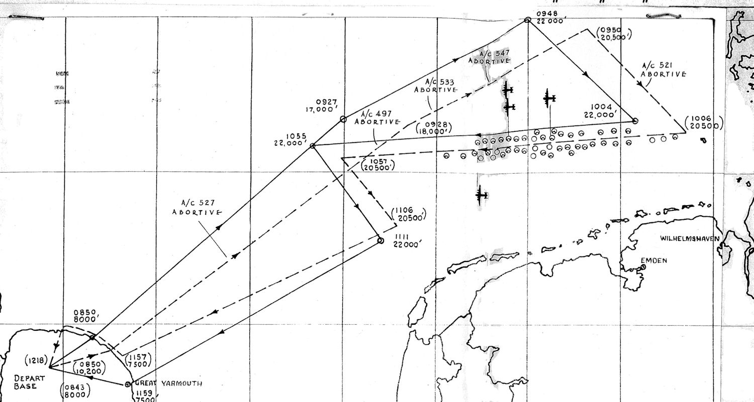 392nd route diagram 4 Oct 43