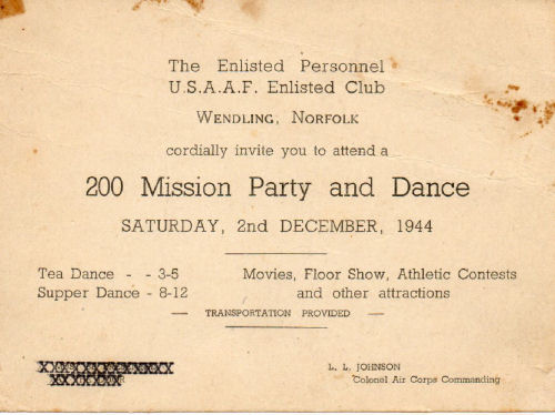 The way it was with birdie schmidt the formal invitation to the 200th mission party and dance stopboris Images